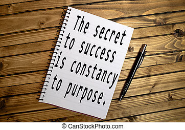 Inspirational motivational quote - The secret to success is...