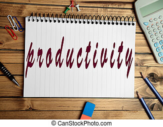 Productivity word on notebook closeup
