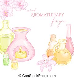 vector illustration of oil burner with orchid and lily...