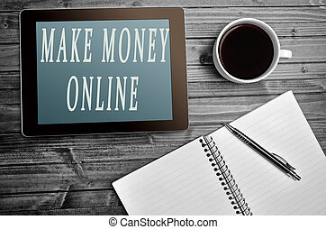 Make money online words on tablet pc