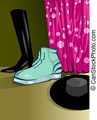 Foot wear - Illustration of foot wear and hat with carton...