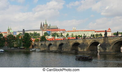 """charles bridge and castle view, prague, zoom in, timelapse,..."