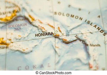 Solomon Islands country map . - Photo of a map of Solomon...