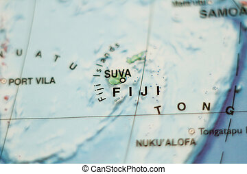 Fiji country map . - Photo of a map of Fiji and the capital...