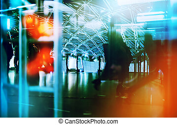 Business people in rush hour, abstract blur image with...