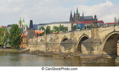 quot;charles bridge and castle view, prague, czech republic,...
