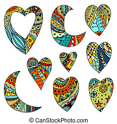 Set Hand drawn colored hearts and crescent in Tangle...