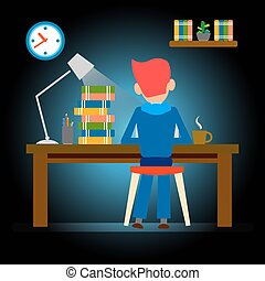 people working late, overtime, hardworking vector design -...