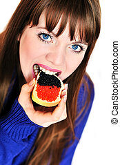 girl eating caviar - girl eating butterbrad with red and...