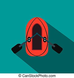 Red inflatable boat with oars flat icon on a blue background