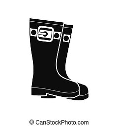 Rubber boots black simple icon