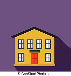 Yellow two-storey house flat icon