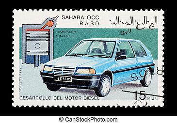 diesel engine - mail stamp printed in Western Sahara...