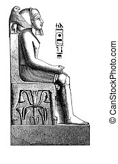 Antique Egypt , engraving middle 800 pharaoh statue -...