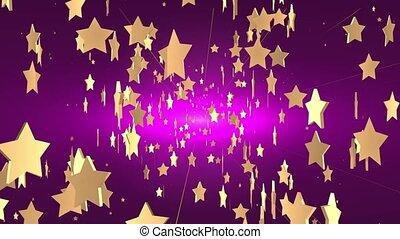 Star Rain On  Dark Purple Backgroun