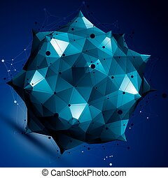 Geometric abstract 3D complicated lattice object, colorful...