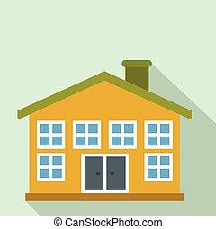 Yellow two-storey house flat icon