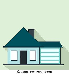 Cottage with a garage flat icon on a light blue background