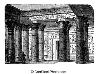 Antique Egypt - temple interior, engraving middle '800