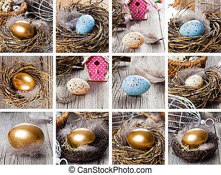 Set of easter egg, Golden in nest on vintage wooden...