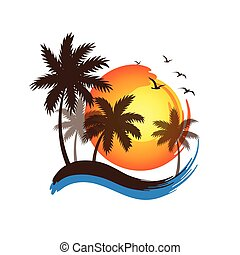 Plam tree sunset - Tropical palm trees silhouettes with...