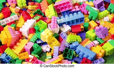 Colorful constructor bricks. Game constructor. Plastic...