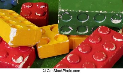 Big colorful constructor bricks. Colorful children's toys....