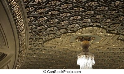 Chandeliers in the palace. - Interior of the old castle....
