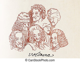 several Voltaire caricatures and his signature - Signed...