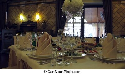 Tables in anticipation of guests. - Decorated table. Tables...