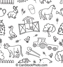 Doodle pattern farm with cow, goat, pig, chicken, rooster,...