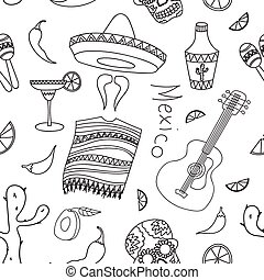 Doodle pattern mexico with hand drawn mexican elements...
