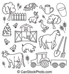 Doodle vector farm with cow, goat, pig, chicken, rooster,...