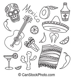 Doodle vektor mexico with hand drawn mexican elements...
