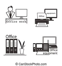 Icons set with Office equipment Modern logo collection -...