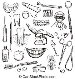 Set of Dentist with different dental equipment - tooth...