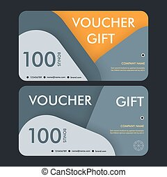 Gift voucher template with modern pattern. Vector design.