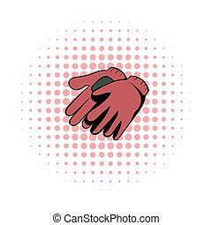 Garden gloves comics icon. Garden symbol on a white...