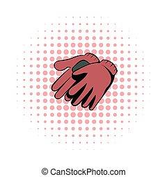 Garden gloves comics icon. Garden symbol on a white...