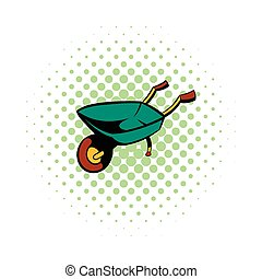 Gardening wheelbarrow comics icon