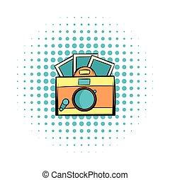 Retro camera comics icon