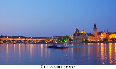 """""""charles bridge and castle view, prague, zoom in, timelapse,..."""