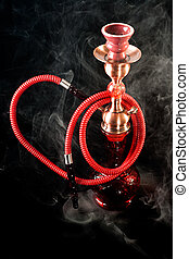 Red hookah on a black background