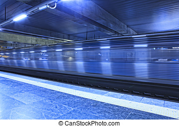 Train arriving at Metro station