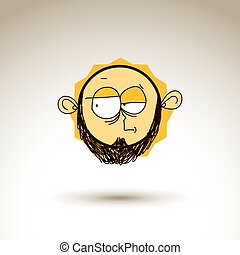 Vector art hand drawn illustration of skeptic person,...