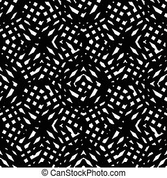 Geometric messy lined seamless pattern, black vector endless...