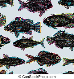 Freshwater fish vector endless pattern, nature and marine...