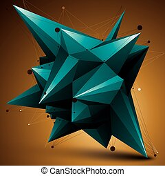 Spatial vector turquoise digital object, 3d technology...