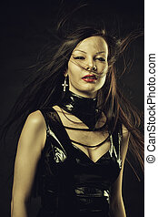 Gothic lady in latex - Seductive young lady in latex dress...