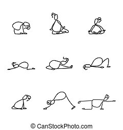 Hand drawing line cartoon yoga for pregnancy